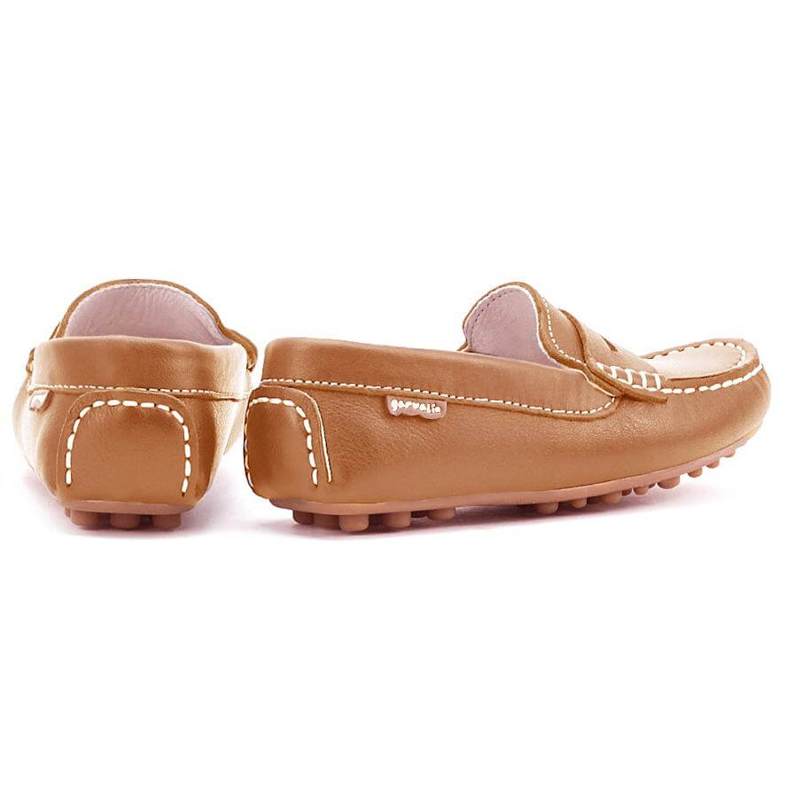 Garvalin Childrens Mocassins Loafers in Leather  - Brown
