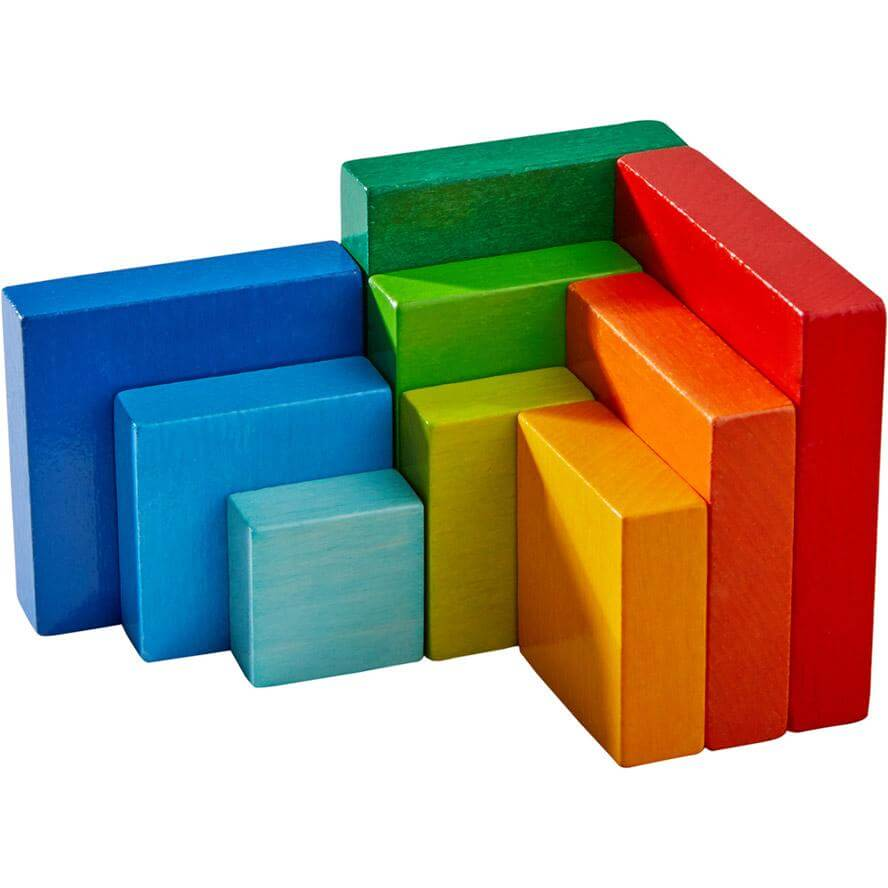 HABA 3D Arranging Game Rainbow Cube 10 Pieces