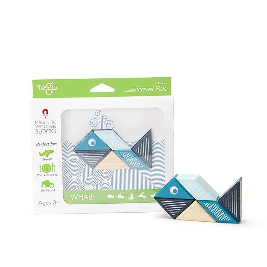 Tegu Travel Pals Magnetic Wooden Blocks 6 pieces - Whale