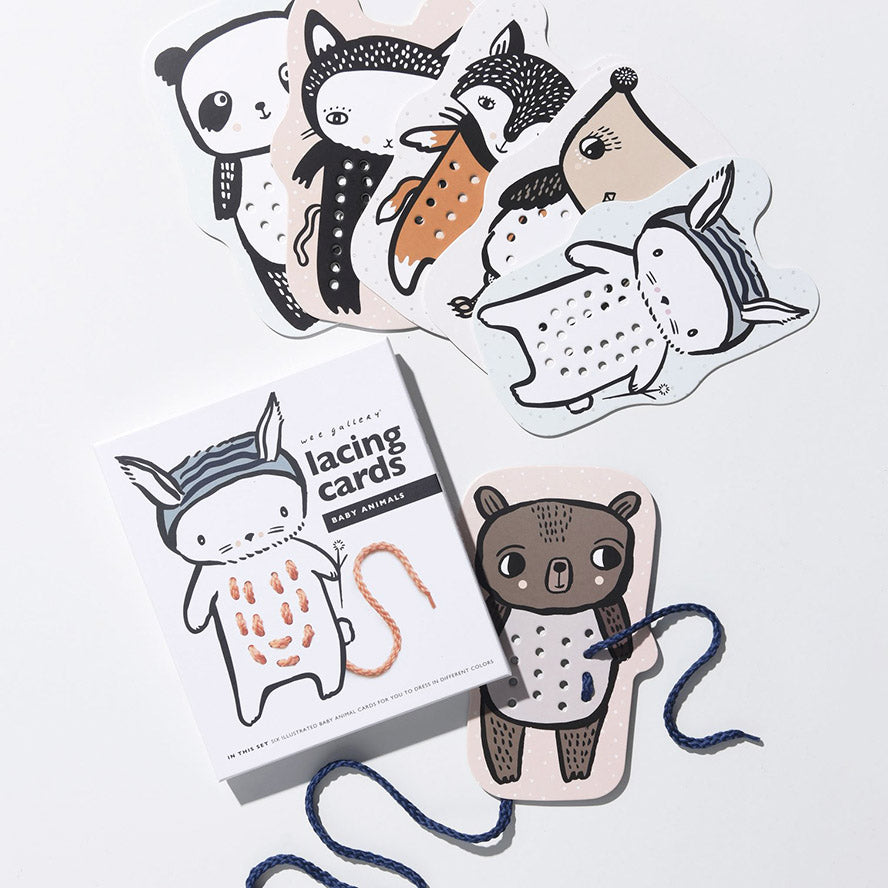 Wee Gallery Lacing Cards - Baby Animals