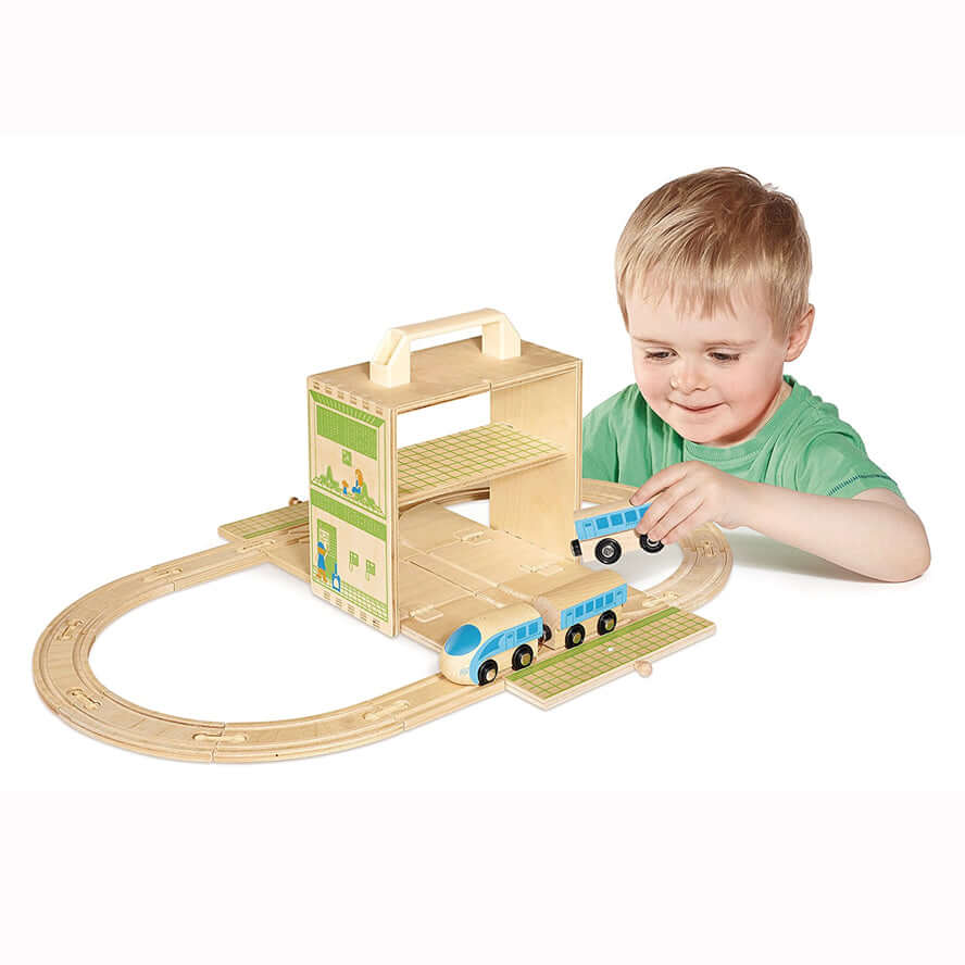 Boxset Portable Wooden Playset - Train