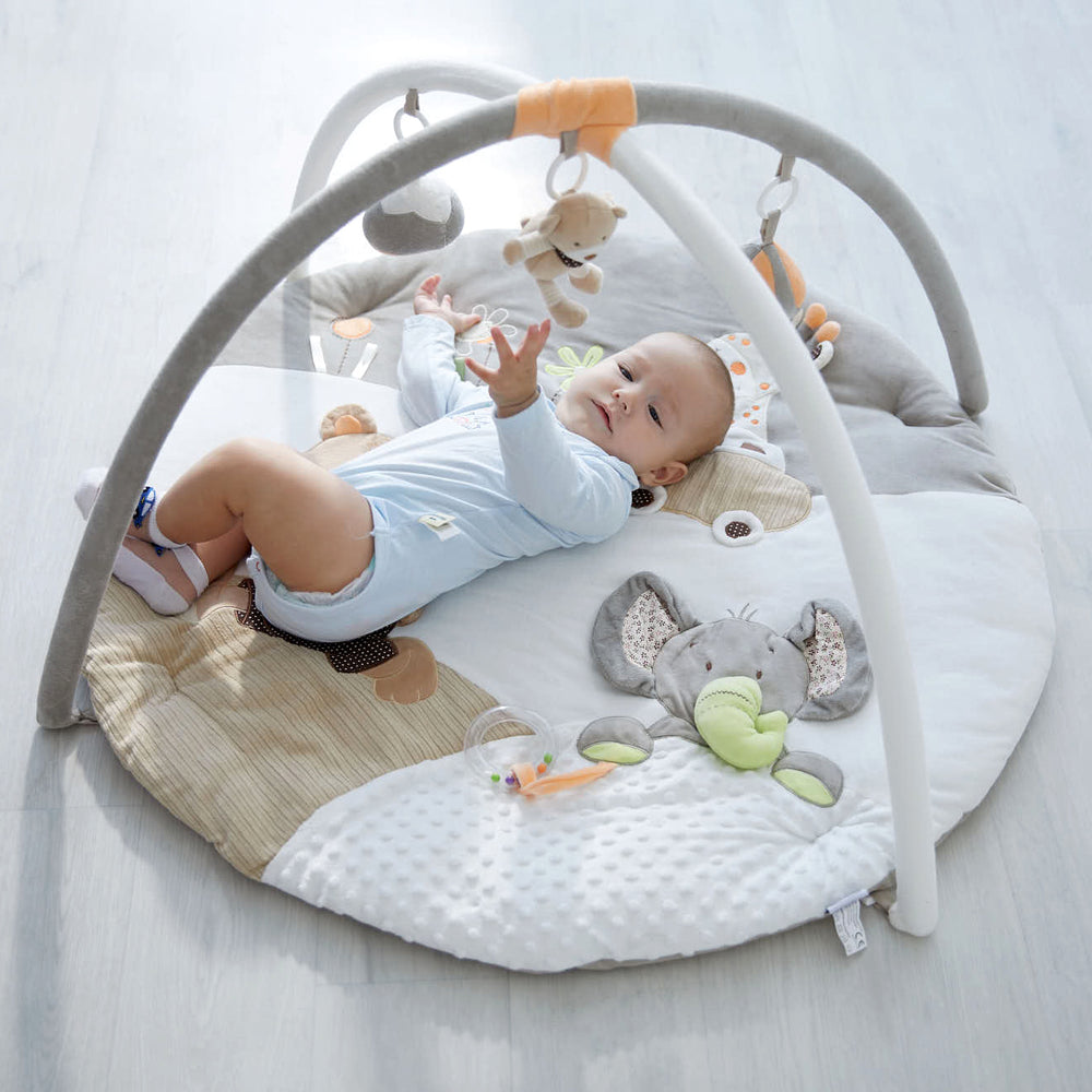 MiniDream Musical Calming Plush Baby Play Mat Activity Gym - Safari