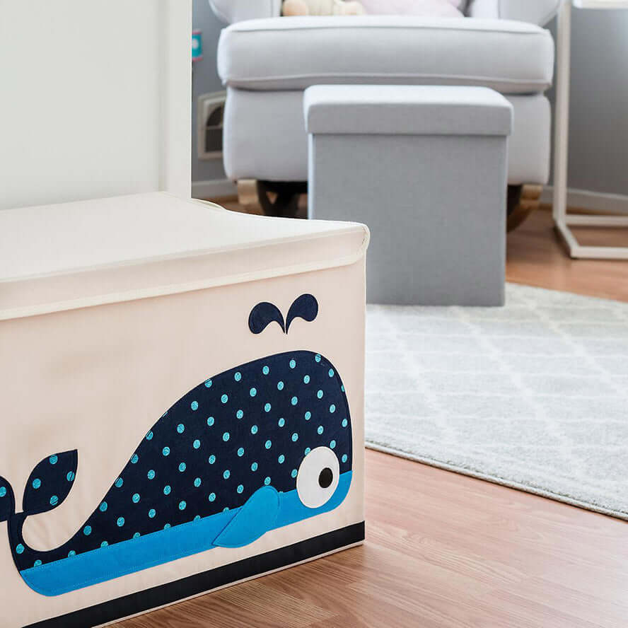3 Sprouts Toy Storage Chest with Lid - Whale