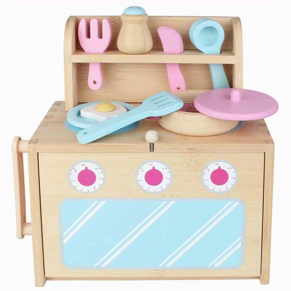 Boxset Portable Kids Bamboo Playset - Kitchen Set
