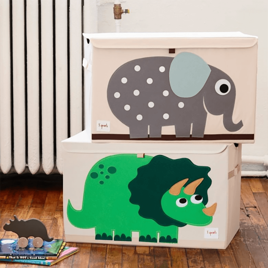 3 Sprouts Toy Storage Chest with Lid - Dino Green