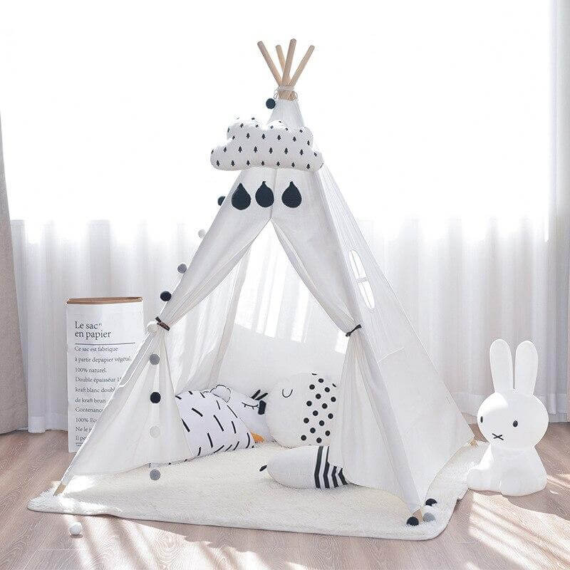 Hooga Kids Teepee Play Tent Canvas Play House - White