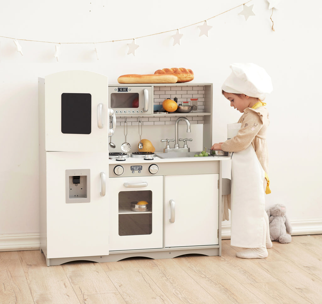 Modern Play Kitchen with Fridge and Microwave - Grey