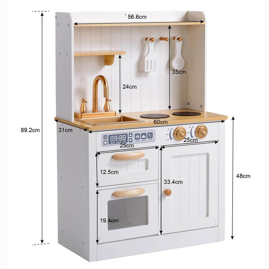 Hooga Kids Wooden Vintage Play Kitchen - White/Gold