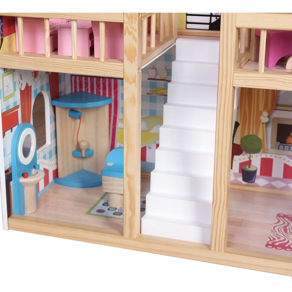 Kids Pink Deluxe Wooden Dollhouse with Strong and Sturdy Design