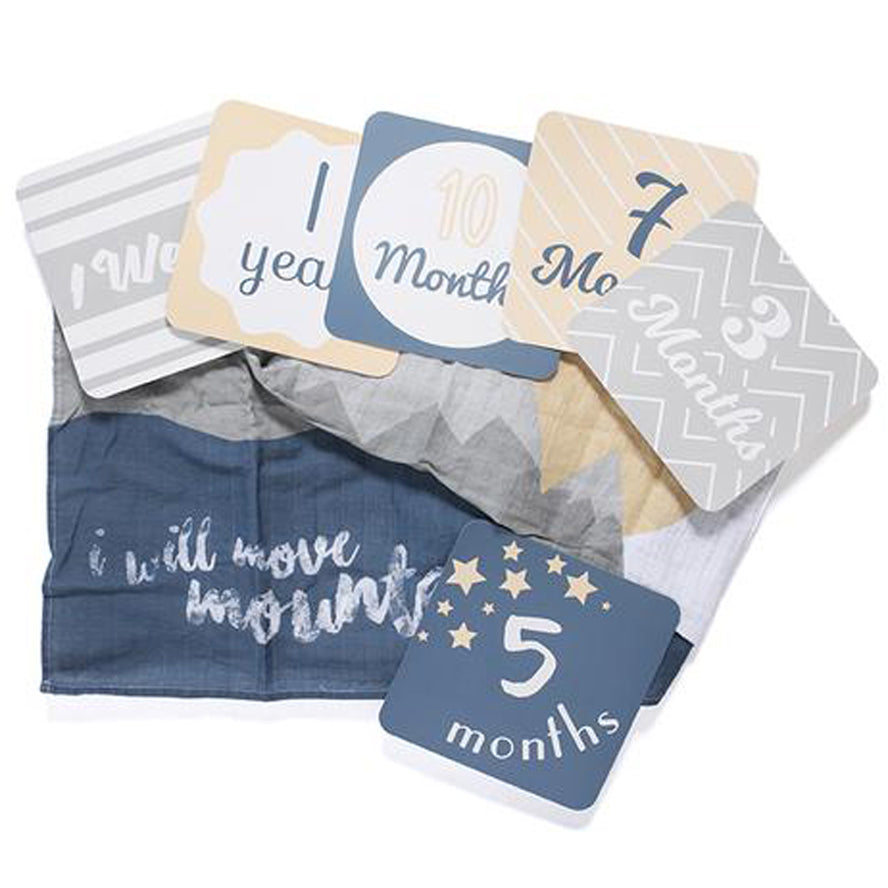 Lulujo Baby Milestone Blanket and Card Set - I Will Move Mountains