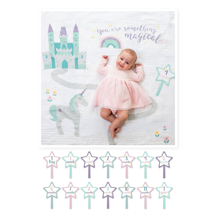 Lulujo Baby Milestone Blanket and Card Set - Something Magical