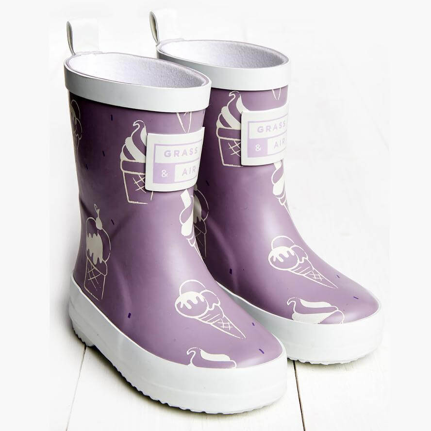 Grass & Air Kids Ultra Violet Colour Revealing Wellies - Violet