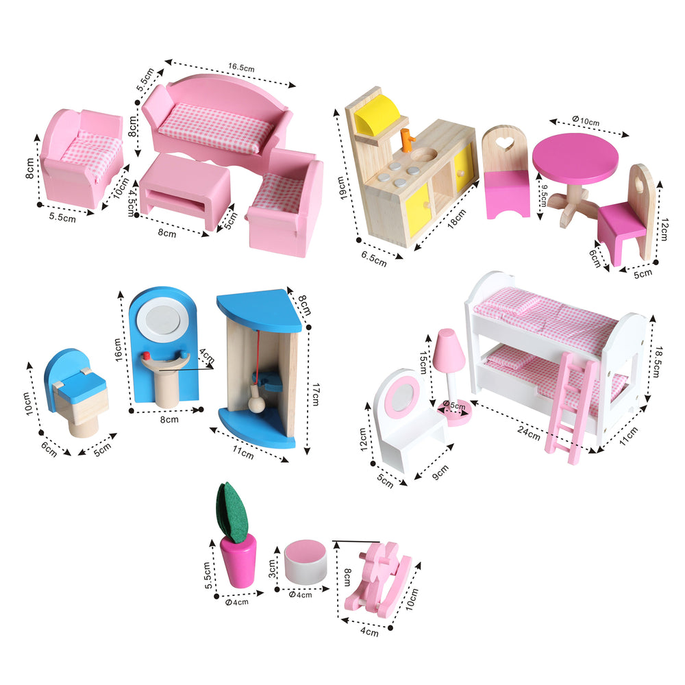 Kids Pink Deluxe Wooden Dollhouse with Strong and Sturdy Design DH001