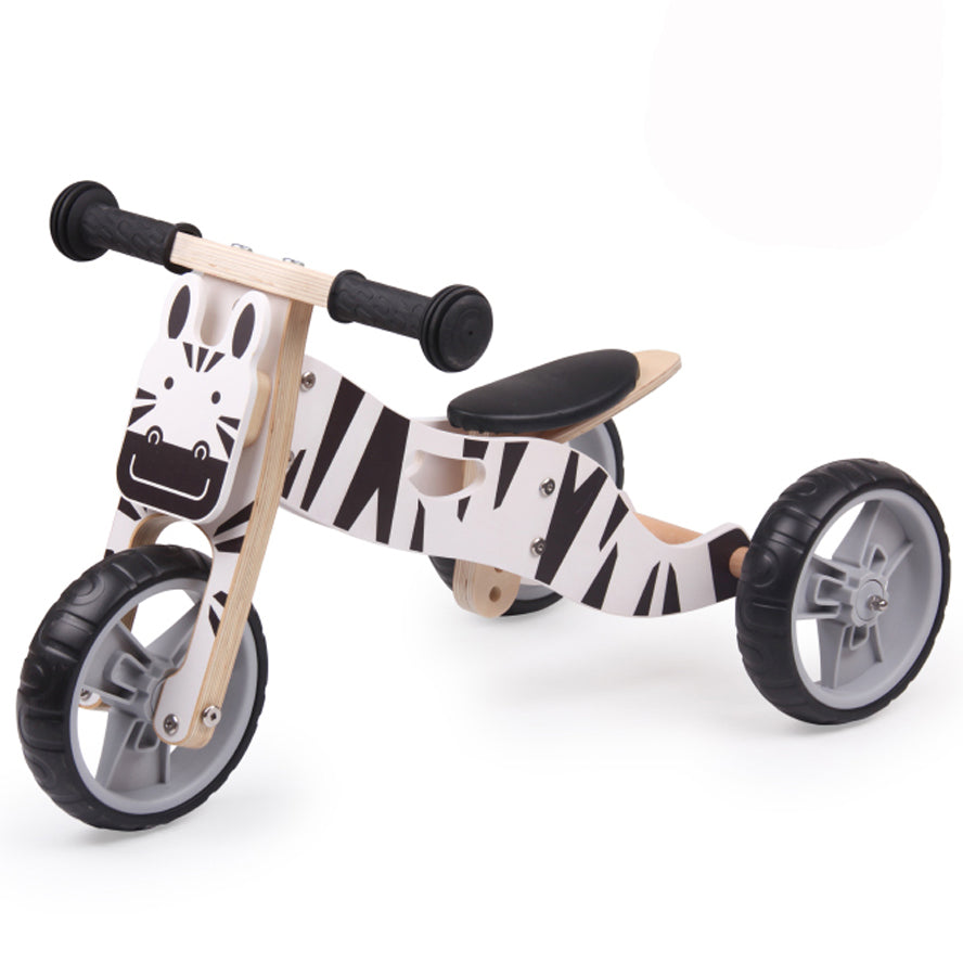 Hooga 2 in 1 Wooden Balance Bike/ Trike - Zebra