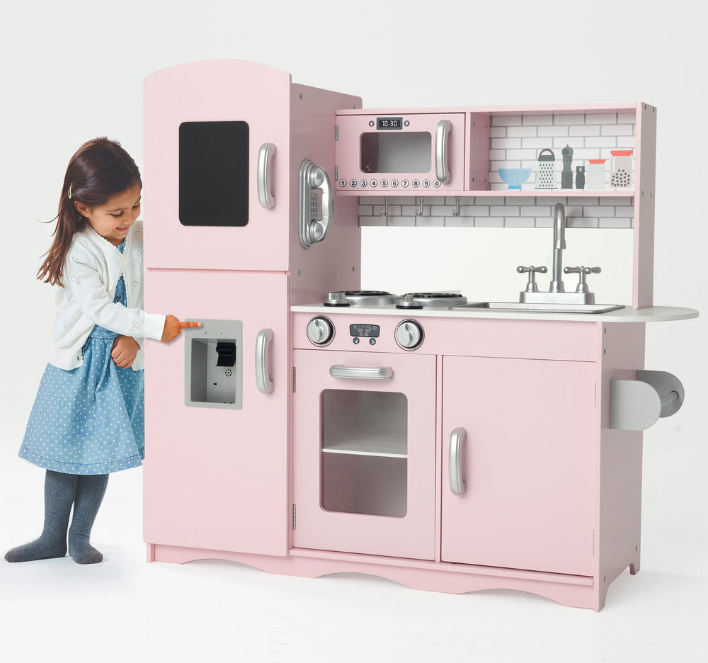 Modern Play Kitchen with Fridge and Microwave - Pink