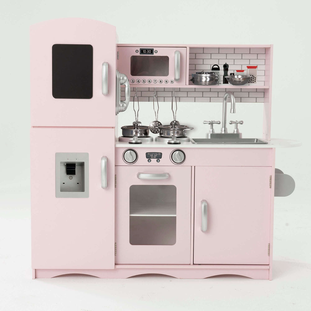 Play Kitchen - Deluxe Kids Wooden Toy Kitchen with 10 Utensils Pink