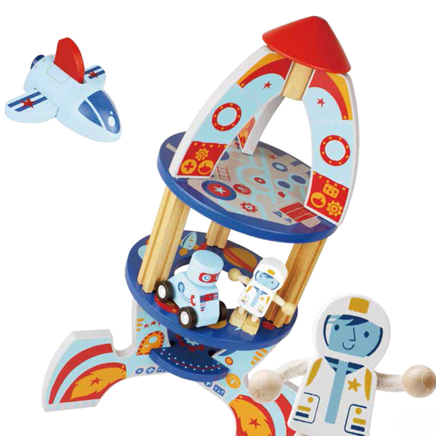 QPACK Kids Wooden Toys Playset - Rocket