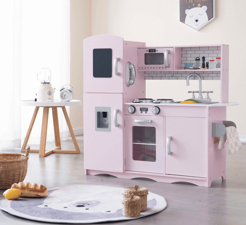 Play Kitchen - Deluxe Kids Wooden Toy Kitchen with 10 Utensils Pink PK005B
