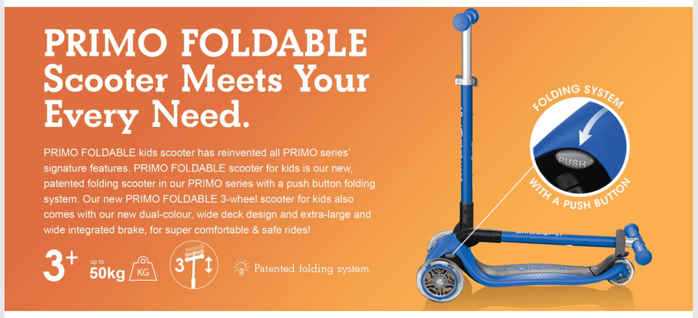 Globber Primo Foldable Scooter - Navy Blue