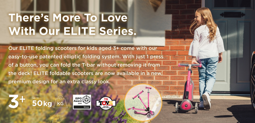 Globber Elite Deluxe Foldable Scooter - Deep Pink