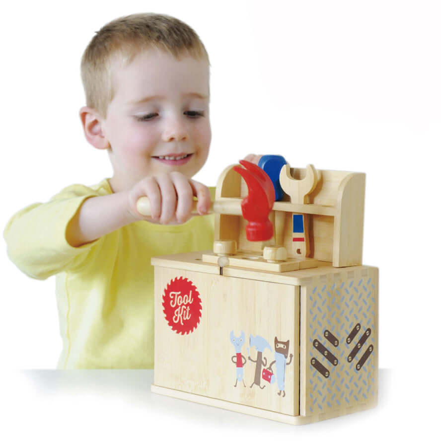 Boxset Portable Kids Bamboo Play Toyset - Tool Set