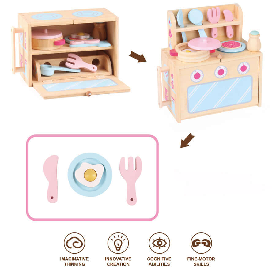 Boxset Portable Kids Bamboo Toy Set - Play Kitchen