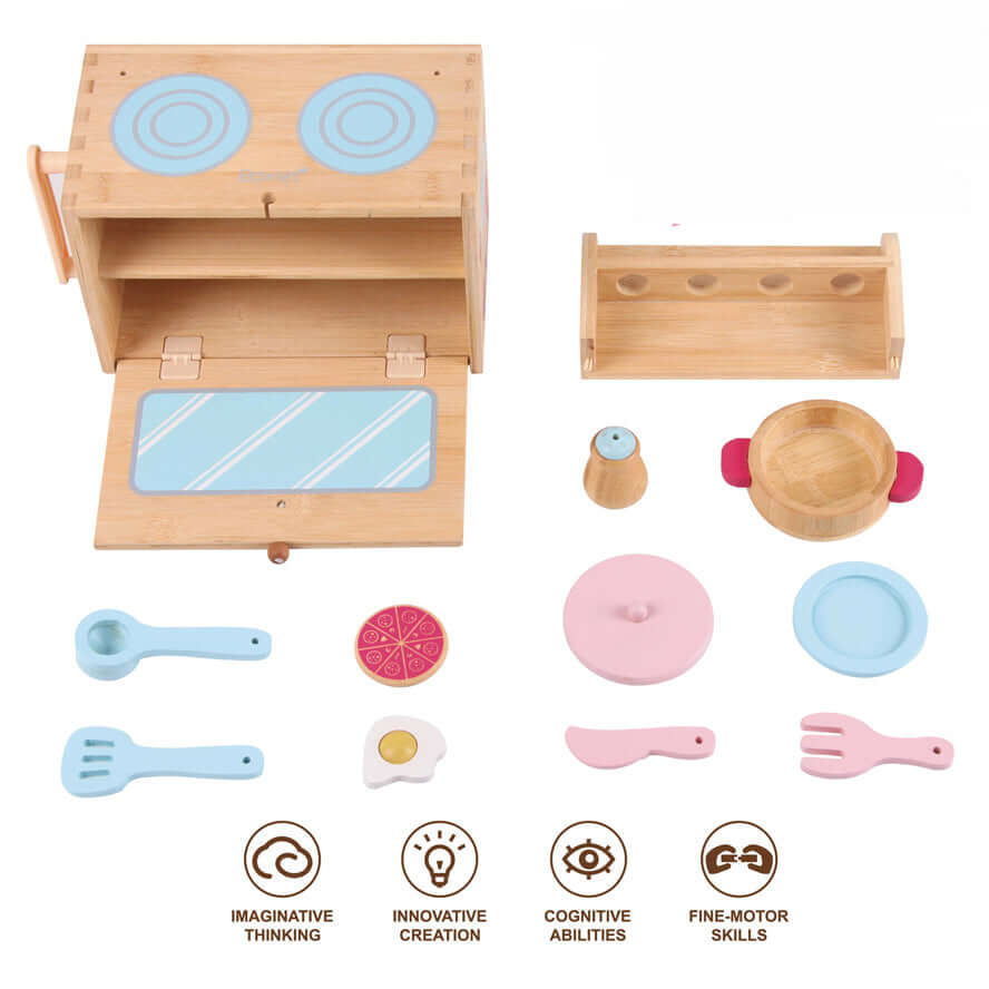 Boxset Portable Kids Bamboo Playset - Play Kitchen