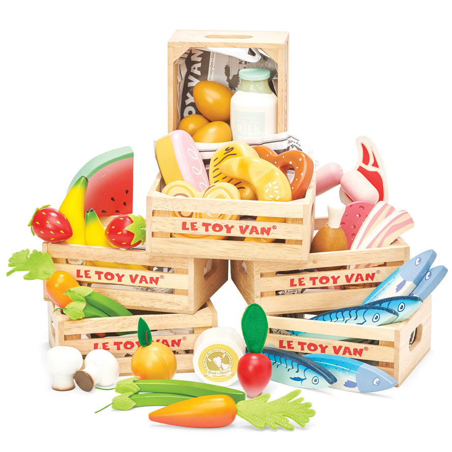 Le Toy Van Honeybee Market - Wooden Vegetables 5 a Day Crate