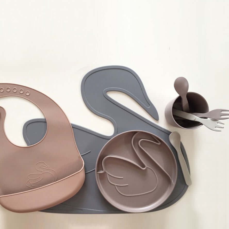 By Lille Vilde Kids Bamboo Plate Swan - Taupe