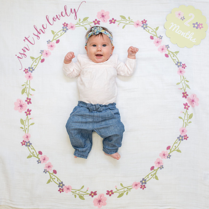 Lulujo Baby Milestone Blanket and Card Set - Isn't She Lovely