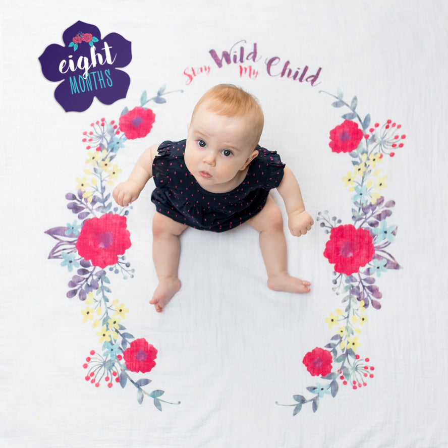 Lulujo Baby Milestone Blanket and Card Set - Stay My Wild Child