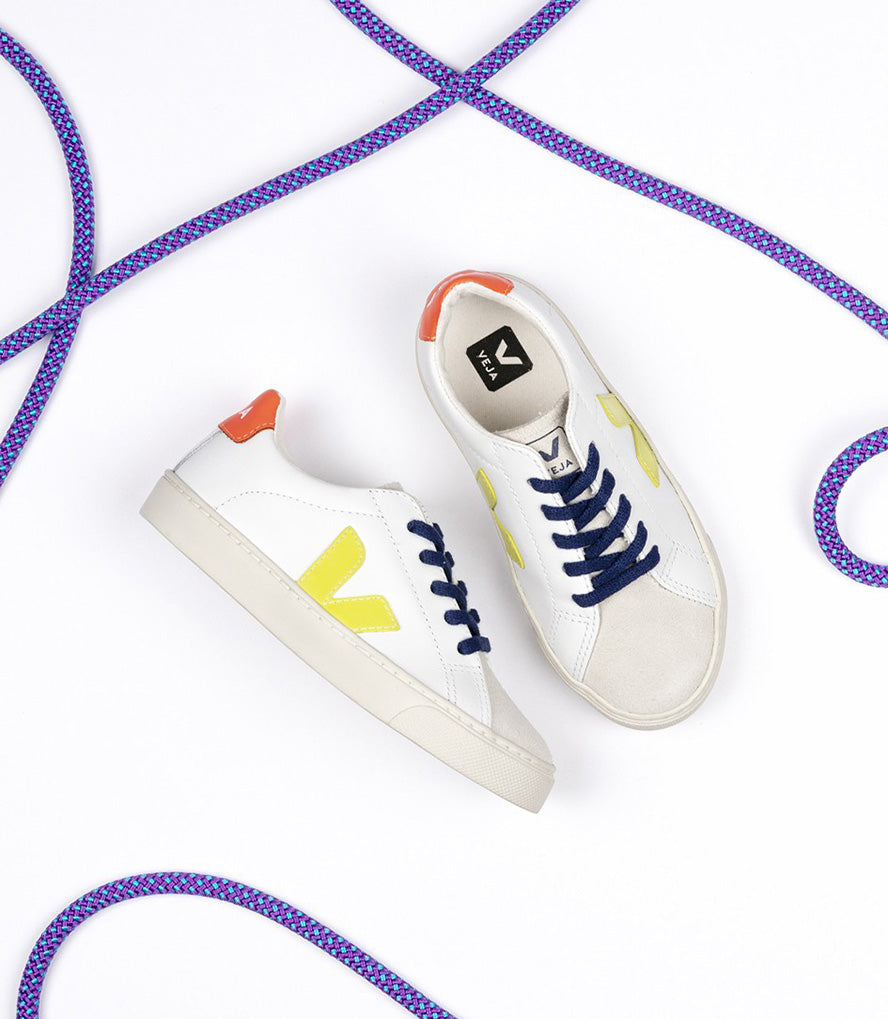 Veja Esplar Leather Lace Trainer - Orange Fluo