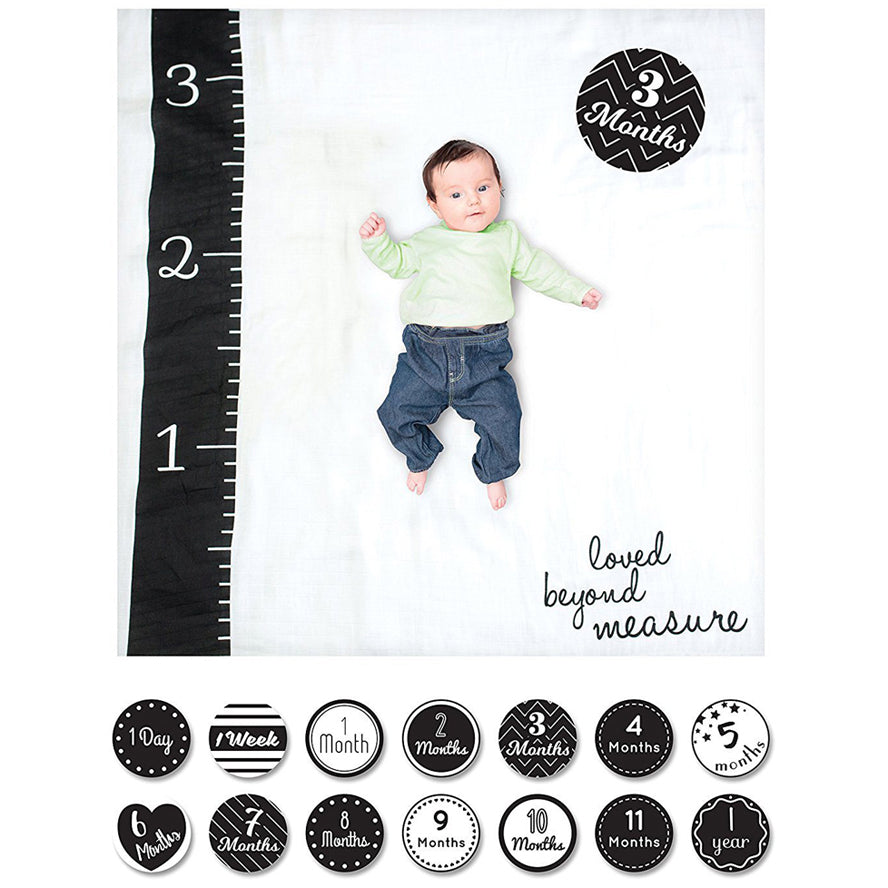 Lulujo Baby Milestone Blanket and Card Set - Loved Beyond Measure