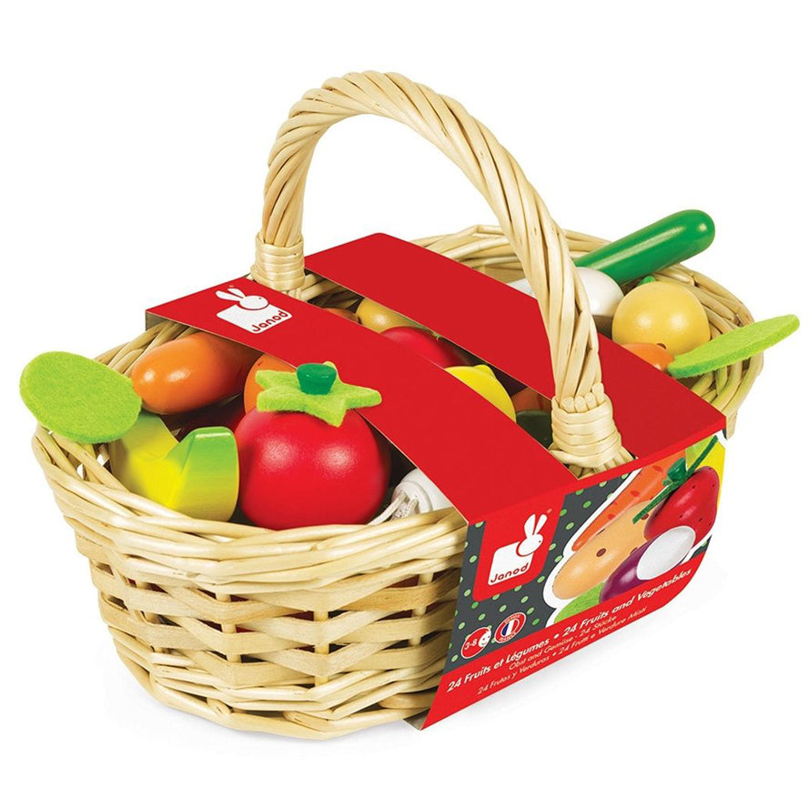 Janod Wooden Toys -  24pcs Fruits and Vegetables Basket
