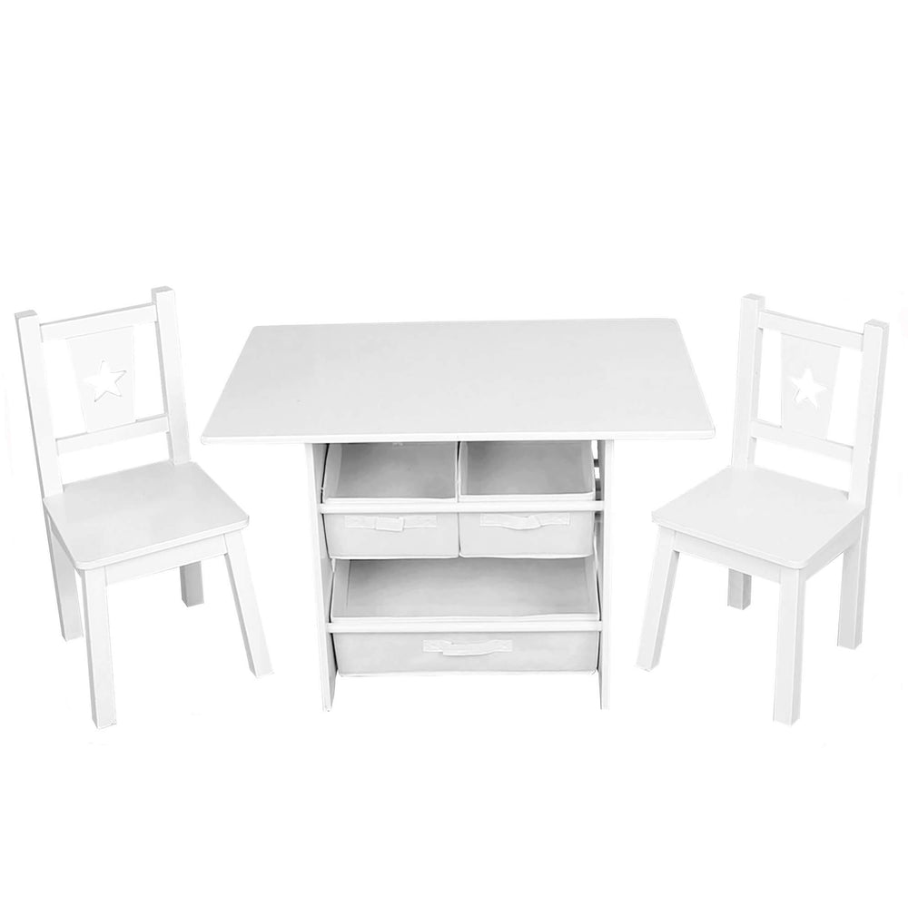Hooga Kids Wooden Table and 2 Chairs Set with Storage - White