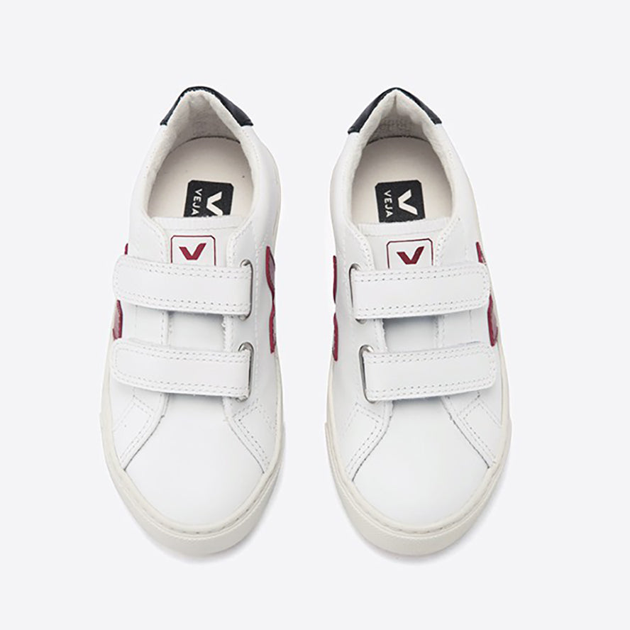 Veja Leather Esplar Velcro Trainers - White Marsala Black