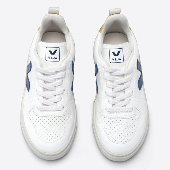 Veja V-10 Cobalt Tonic Kids Lace Trainer - White