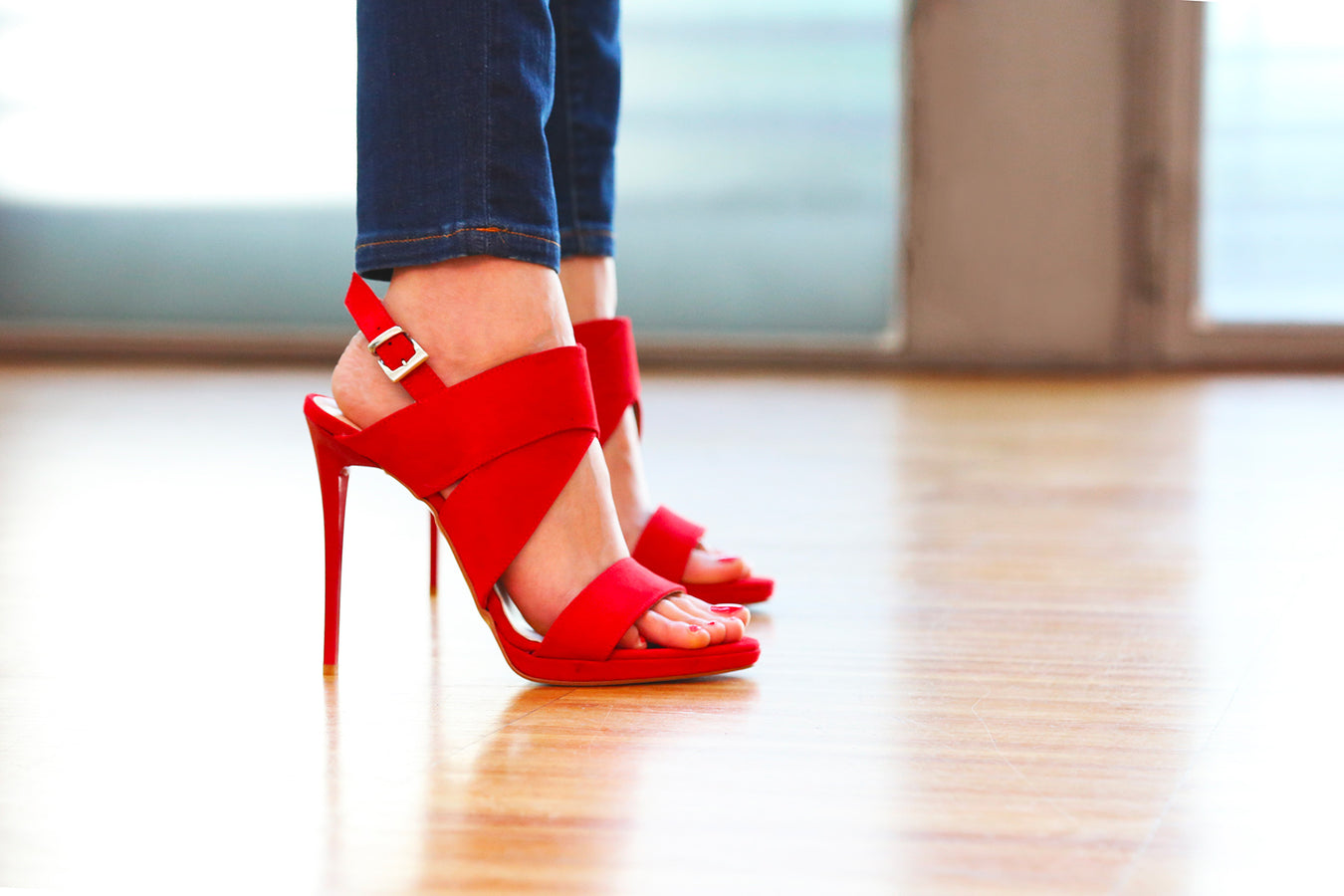 Designer High Stiletto Heels Sandals in Red