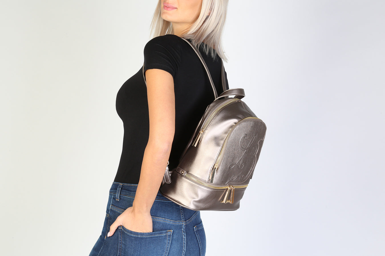 womens backpack in metallic brown