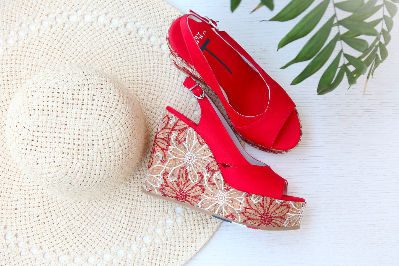 U.S.Polo high heels wedges, sandals in red