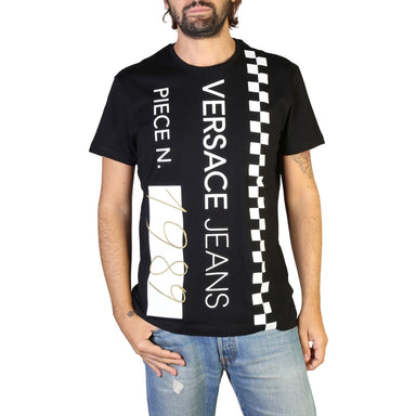 Versace Jeans Crew Neck Printed T-shirt In Black