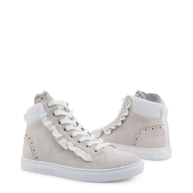 Trussardi Hi Frill Trainers in Off White