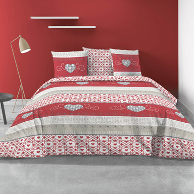 Cozy 100% Cotton Duvet Cover and Pillowcase  Set in Red