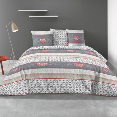 Cozy 100% Cotton Duvet Cover and Pillowcase in Grey