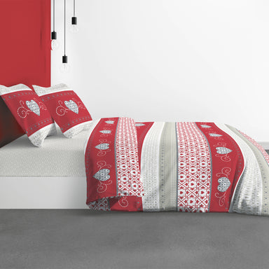 Hart Print Duvet cover Set of 2 pc Cosy Red 260 x 240cm