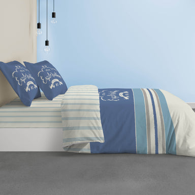 Exploration Duvet Cover and Pillowcase Set in Blue/Cream