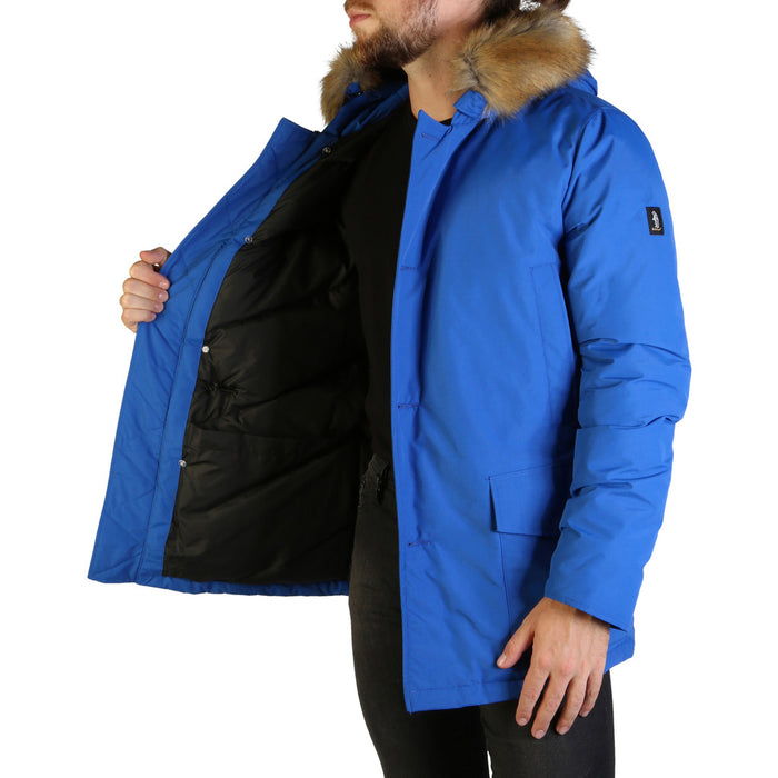 Refrigue - LISK-A Long Line Hooded Parka in Blue