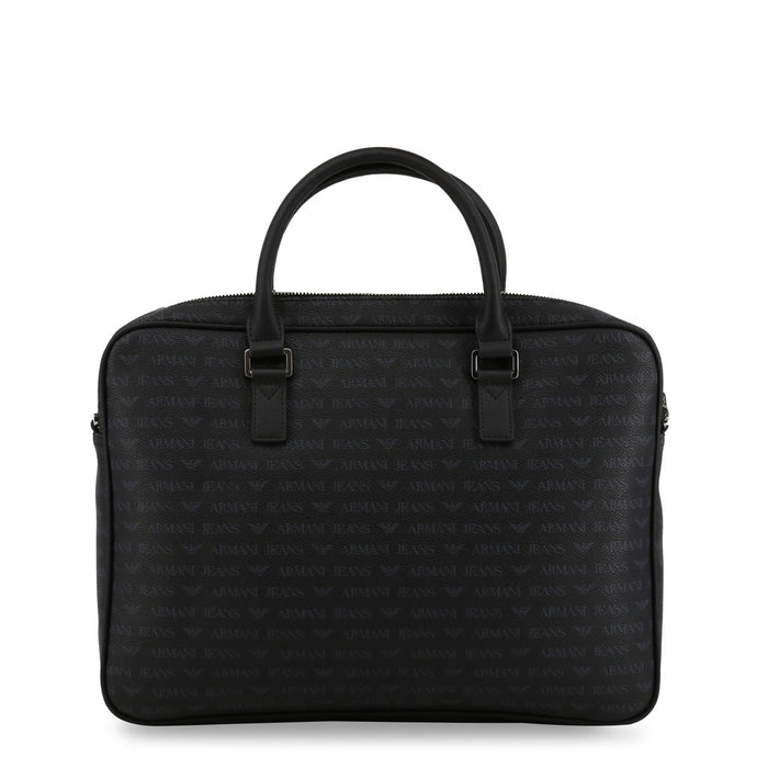 Armani Jeans Logo All Over Print Briefcase in Black
