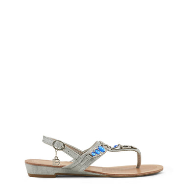 Laura Biagiotti Silver Embellished Flat Sandals