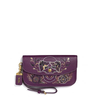Coach Embroidered Clutch Bag in Purple